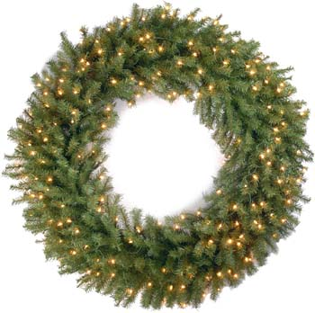 10: National Tree Company 48 Inch Norwood Fir Wreath with 200 Clear Lights (NF-48WLO)
