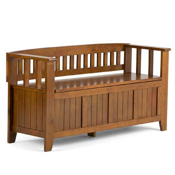 10: Simpli Home INT-AXCACA-EB-ALB Acadian Solid Wood 48 inch Wide Rustic Entryway Storage Bench in Light Avalon Brown