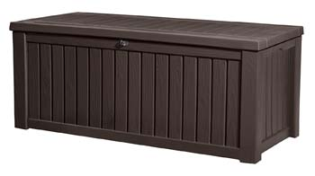 6: Keter Rockwood Plastic Deck Storage Container Box Outdoor Patio Garden Furniture 150 Gal, Brown