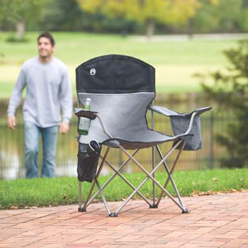 9. Coleman Oversized Black Camping Lawn Chairs + Cooler, 2-Pack | 2000020256