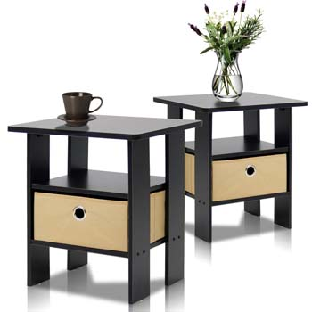 7: Furinno End Table Bedroom Night Stand, Petite, Espresso, Set of 2