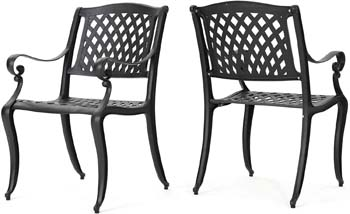 6: Christopher Knight Home 239070 Marietta Outdoor Cast Aluminum Dining Chairs, 2, Black