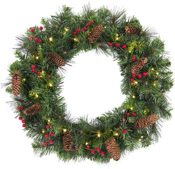 9: Best Choice Products 24-inch Pre-Lit Cordless Artificial Spruce Christmas Wreath