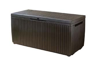 5: Keter Springwood Plastic Deck Storage Container Box Outdoor Patio Garden Furniture 80 Gal, Brown