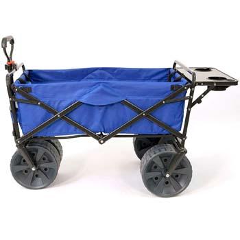 7: Mac Sports Heavy Duty Collapsible Folding All Terrain Utility Wagon Beach Cart with Table – Blue