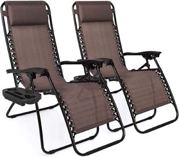 8: Best Choice Products Set of 2 Adjustable Zero Gravity Lounge Chair Recliners