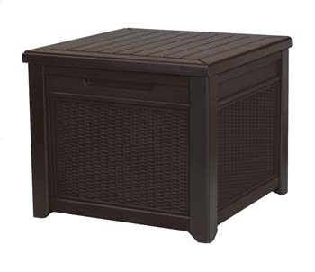 3: Keter 233705 55 Gallon Outdoor Rattan Style Storage Cube Patio Table, 1 Pack, Brown