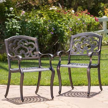 4: Christopher Knight Home 300663 Augusta Outdoor Cast Aluminum Dining Chairs (Set of 2), Copper