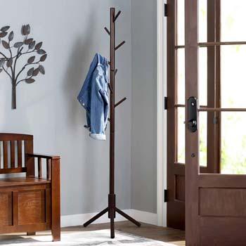 2: Vlush Sturdy Wooden Coat Rack Stand, Entryway Hall Tree Coat Tree