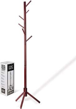 5: High-Grade Wooden Tree Coat Rack Stand, 6 Hooks
