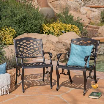 10. Christopher Knight Home Myrtle Beach Outdoor Shiny Copper Finished Aluminum Dining Chairs
