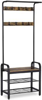 6: VASAGLE Industrial Coat Rack Shoe Bench