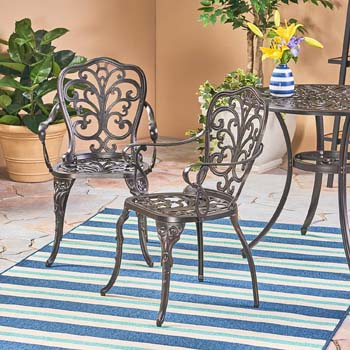 2: Christopher Knight Home 305324 Buddy Outdoor Cast Aluminum Dining Chair