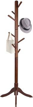 7: Vlush Free Standing Coat Rack, 8 Hooks Wooden Coat Hat Tree Coat Hanger