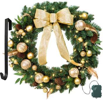 7: LIFEFAIR 24 Inch Christmas Wreath Gold Bowknot, Berry, Ball