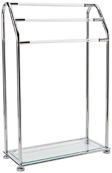 4: Organize It All 3 Bar Bathroom Towel Drying Rack & Holder with Shelf, Chrome