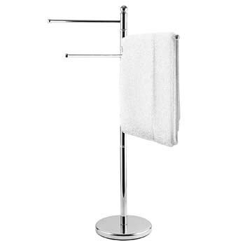 3: MyGift 40-Inch Freestanding Stainless Steel Bathroom Towel/Kitchen Towel Rack Stand