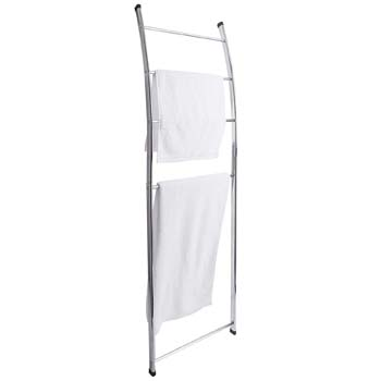 5: MyGift 4-bar Chrome-Plated Bath Towel Ladder, Wall-Leaning Drying Rack Stand