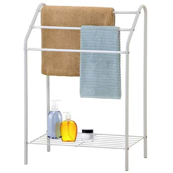 8: MyGift Freestanding 3 Tier Metal Towel Rack, Chrome Bathroom Towel Bar, White