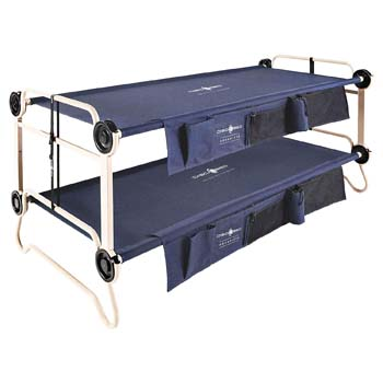 10: Disc-O-Bed XL Cam-O-Bunk Benchable Bunked Double Cot with Organizers, Navy Blue