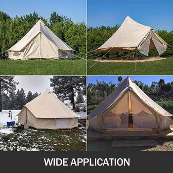 5: Happybuy Bell Tent 10-12 Persons Canvas Tent 4-Season Yurt Tents