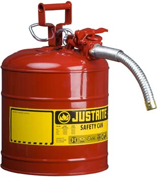 1. Justrite 7250130 Galvanized Steel, AccuFlow Type II Red Safety Can