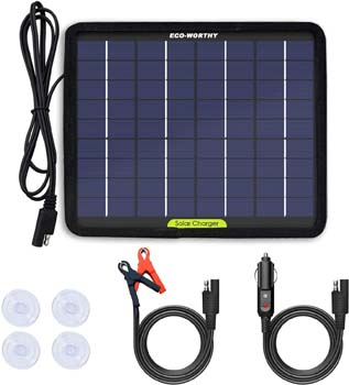 1. ECO-WORTHY 12 Volts 5 Watts Portable Power Solar Panel Battery Charger Backup
