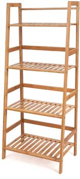6. HOMFA Bamboo 4 Shelf Bookcase, Multifunctional Ladder-Shaped Plant Flower Stand