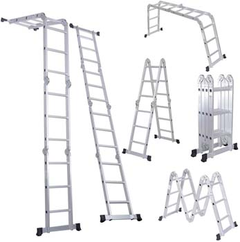 2. Luisladders Folding Ladder Multi-Purpose Aluminum Extension 7 in 1 Step Heavy Duty
