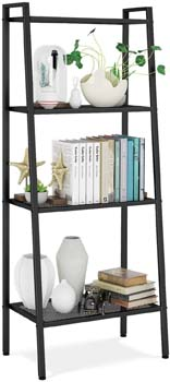 3. HOMFA Metal 4 Shelf Bookcase, Multifunctional Ladder-Shaped Plant Flower Stand