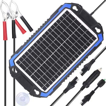6. SUNER POWER 12V Solar Car Battery Charger & Maintainer