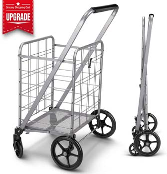 1. Winkeep Newly Released Grocery Utility Flat Folding Shopping Cart