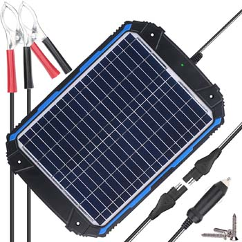 5. SUNER POWER Upgraded 12V Waterproof Solar Battery Charger & Maintainer