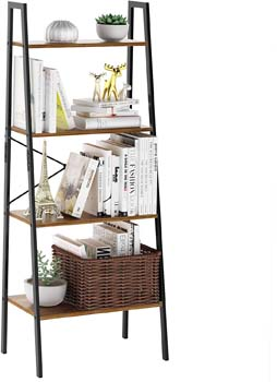 7. LANGRIA Industrial Ladder Shelf 4 Tier Vintage Bookcase Bookshelf