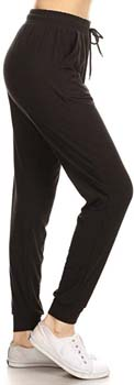 1. Leggings Depot Women's Printed Solid Activewear Jogger Track Cuff Sweatpants Inner Pockets