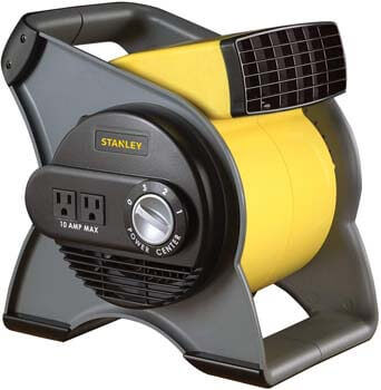 2. STANLEY 655704 High-Velocity Blower Fan - Features Pivoting Blower and Built-in Outlets