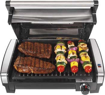 3. Hamilton Beach Electric Indoor Searing Grill with Viewing Window