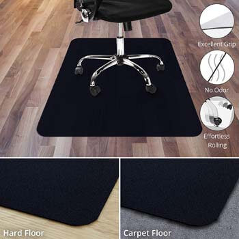 7. Office Marshal Black Polycarbonate Office Chair Mat