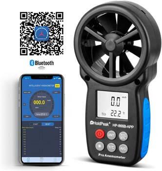 3. HOLDPEAK HP-866B-APP Digital Anemometer Handheld APP