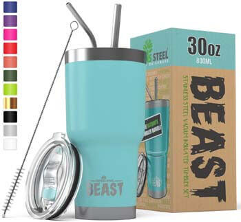 1. BEAST 30 oz. Teal Tumbler Stainless Steel Insulated Coffee Cup