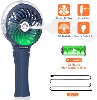 1. COMLIFE Handheld Misting Fan Portable Fan Facial Steamer-Rechargeable Battery Operated Fan