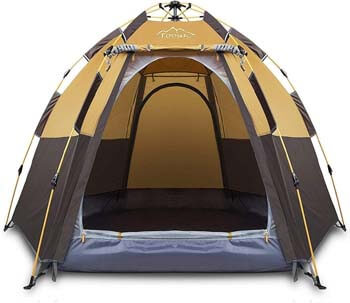 9. Toogh 3-4 Person Camping Tent Backpacking Tents Hexagon Waterproof Dome Automatic Pop-Up Outdoor Sports Tent Camping Sun Shelters