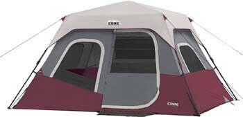 1. CORE 6 Person Instant Cabin Tent with Wall Organizer