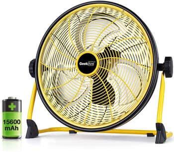 9. GeekAire Rechargeable Outdoor High-Velocity Floor Fan, 16'' Portable 15600mAh Battery Operated Fan