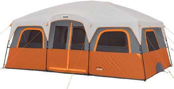 9. Core 12 Person Extra Large Straight Wall Cabin Tent - 16' x 11'