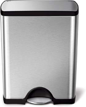 5. simplehuman 50 Liter / 13.2 Gallon Stainless Steel Rectangular Kitchen Step Trash Can