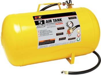 1. Performance Tool W10005 Hi-Viz 5-Gallon Horizontal Portable Air Tank with Tire Air Chuck, Black