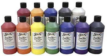 8. Sax True Flow Heavy Body Acrylic Paint Set, Pints, Assorted Colors, Set of 12 – 439304
