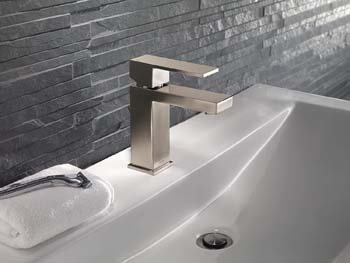 9. Delta Faucet Modern Single-Handle Bathroom Faucet with Drain Assembly, Stainless 567LF-SSPP