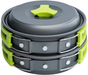 4. MalloMe 1 Liter Camping Cookware Mess Kit Backpacking Gear